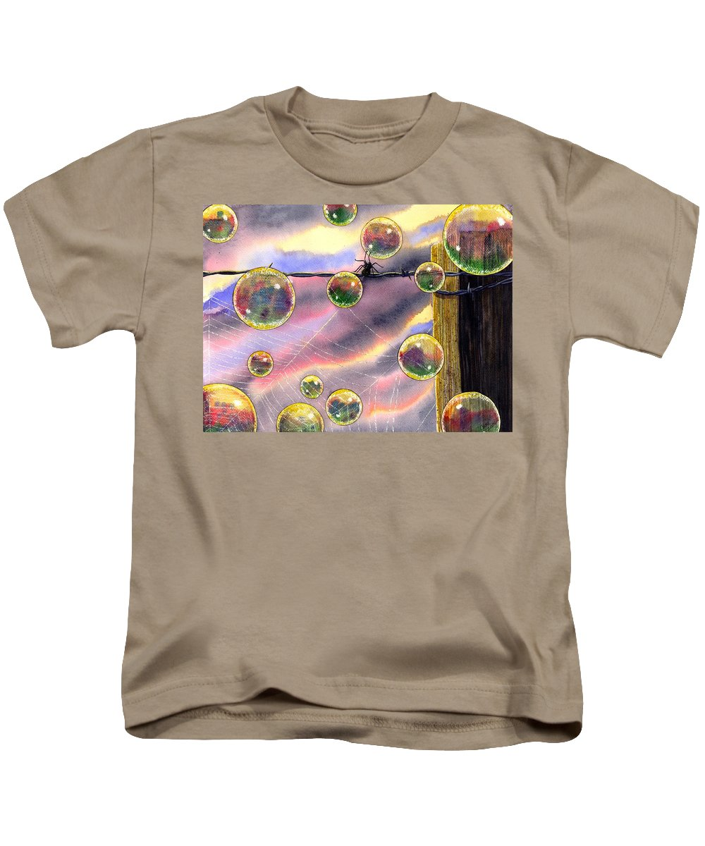 Bubbles Kids T-Shirt featuring the painting Spyder by Catherine G McElroy