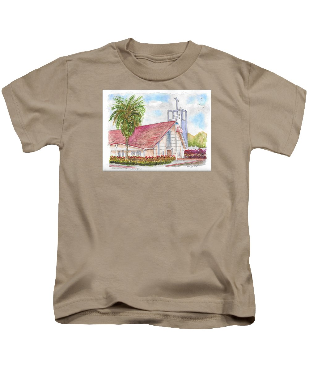 Saint Charles Kids T-Shirt featuring the painting St. Charles Catholic Church, San Diego, California by Carlos G Groppa