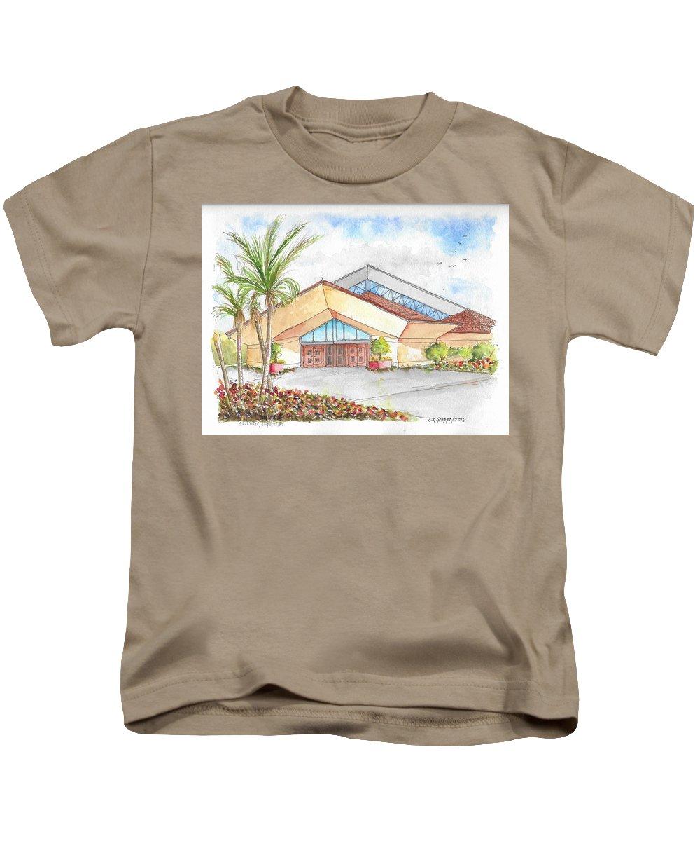 St. Peter Catholic Church Kids T-Shirt featuring the painting St. Peter's Catholic Church, Jupiter, Florida by Carlos G Groppa
