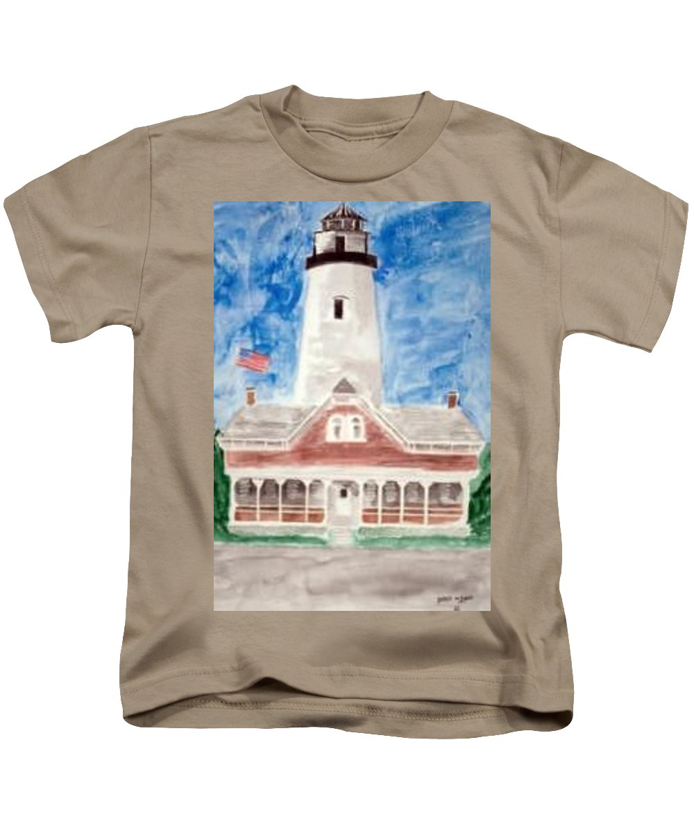 Watercolor Landscape Lighthouse Seascape Painting Kids T-Shirt featuring the painting St Simons Lighthouse Nautical Painting Print by Derek Mccrea