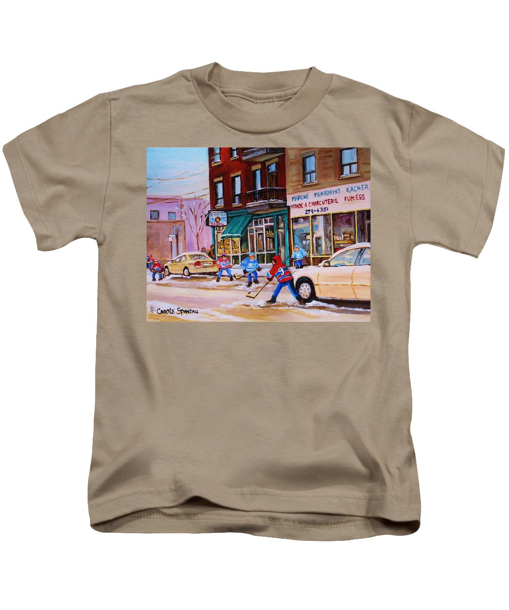 Montreal Kids T-Shirt featuring the painting St. Viateur Bagel With Boys Playing Hockey by Carole Spandau