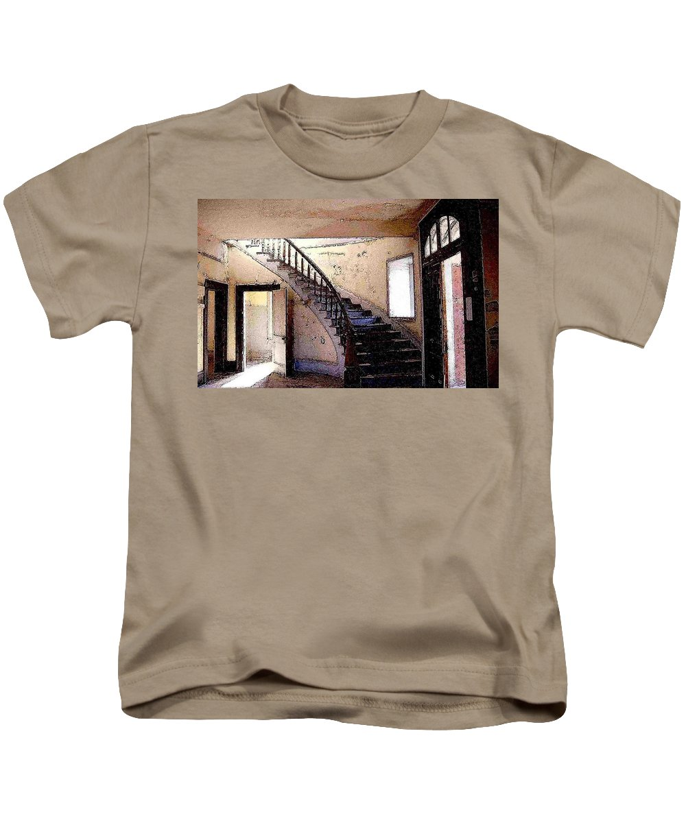 Meade Hotel Kids T-Shirt featuring the photograph Stairway - Meade Hotel - Bannack Mt by Nelson Strong