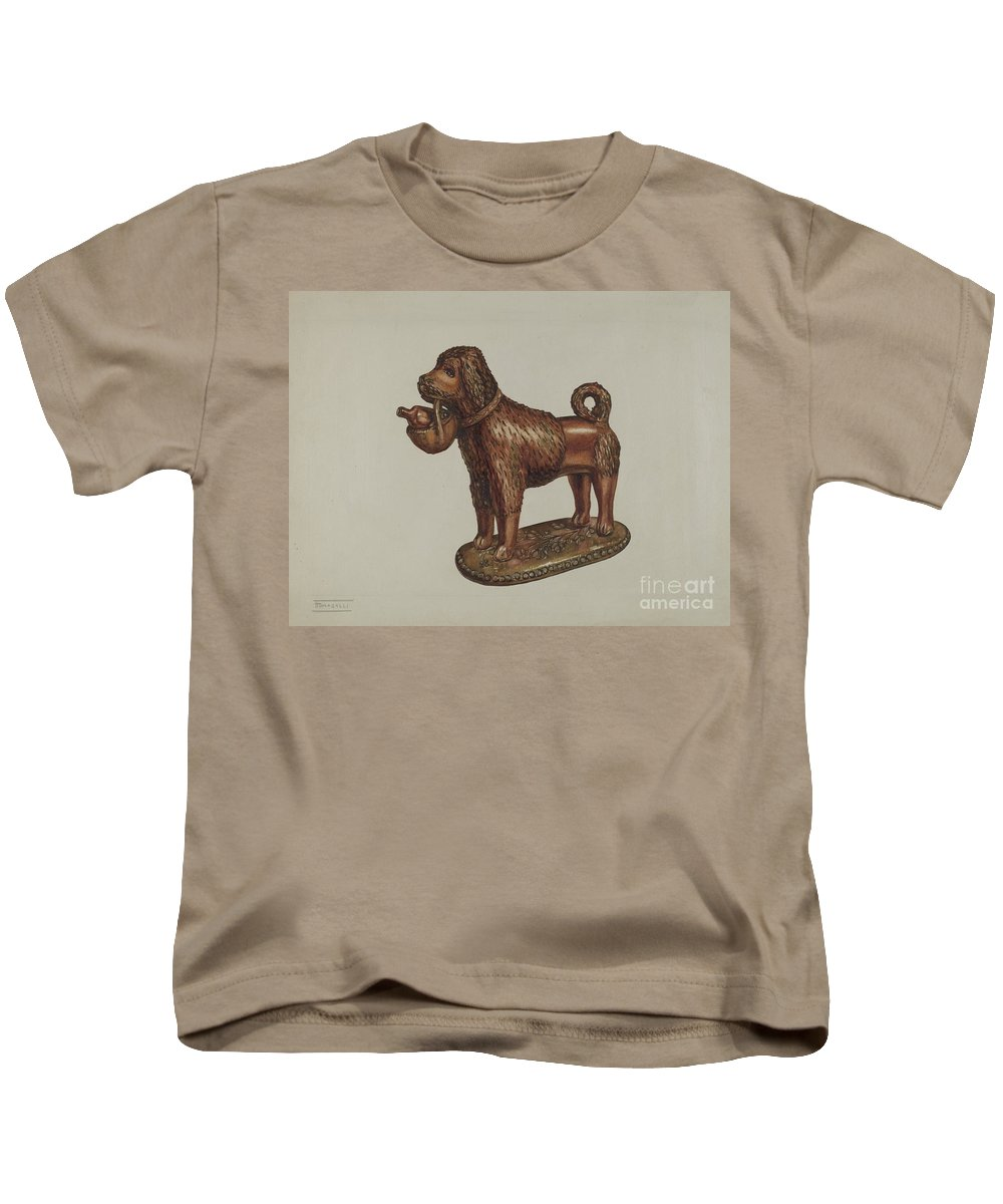 Kids T-Shirt featuring the painting Statuette Of A Dog by Frank Fumagalli