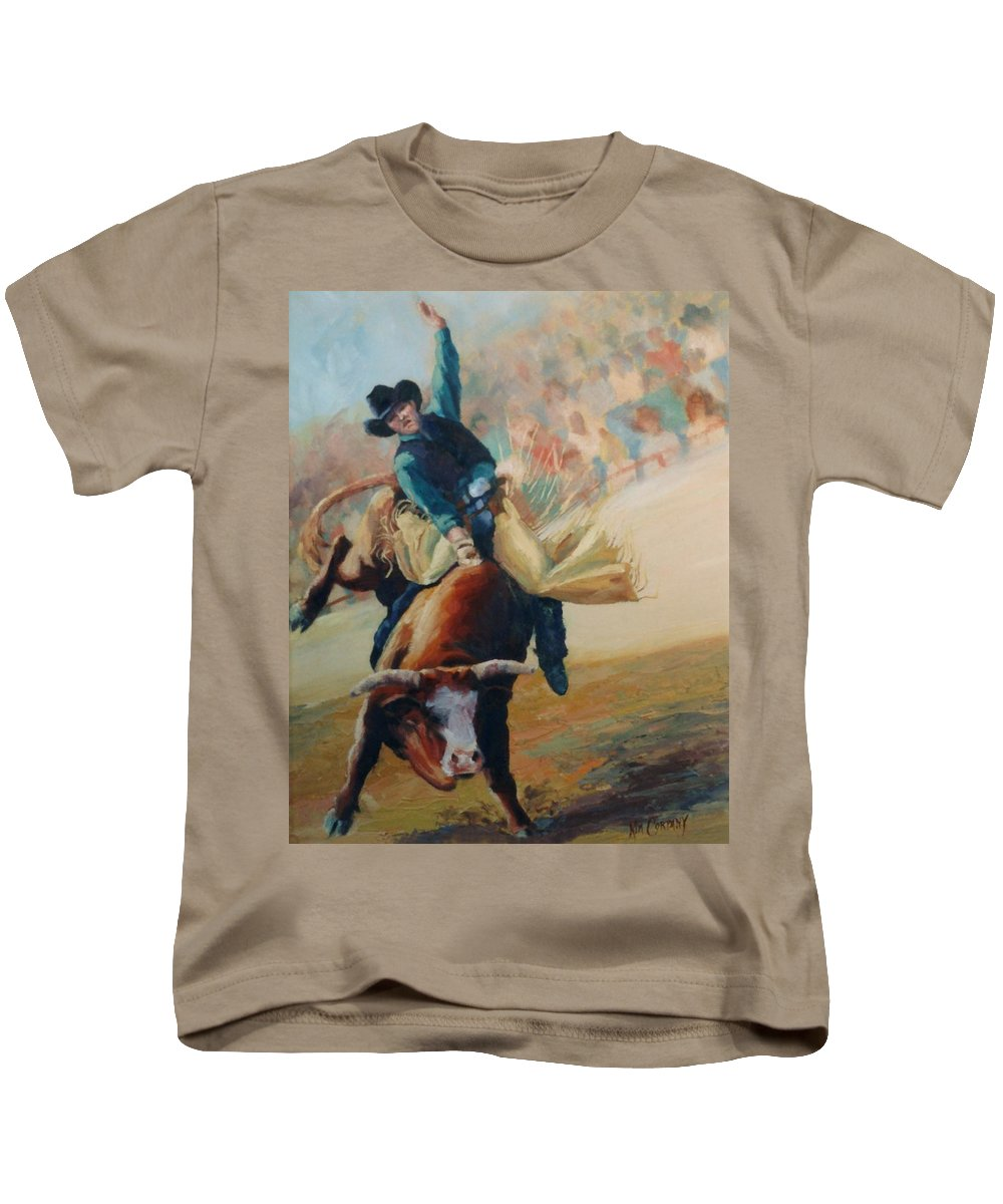 Bull Kids T-Shirt featuring the painting Staying In The Middle Rodeo Bucking Bull by Kim Corpany