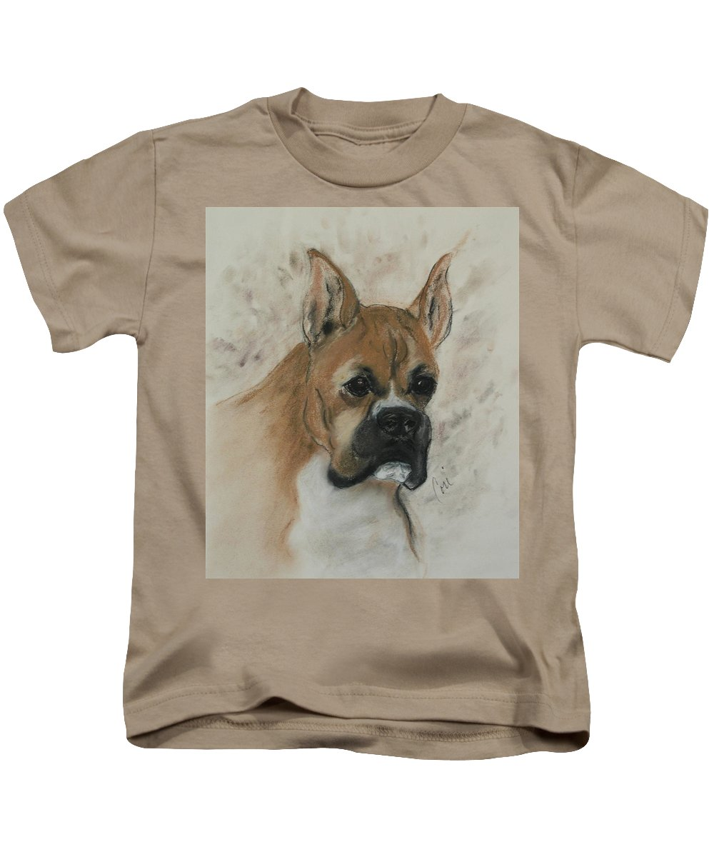 Dog Kids T-Shirt featuring the drawing Steady Goes It by Cori Solomon