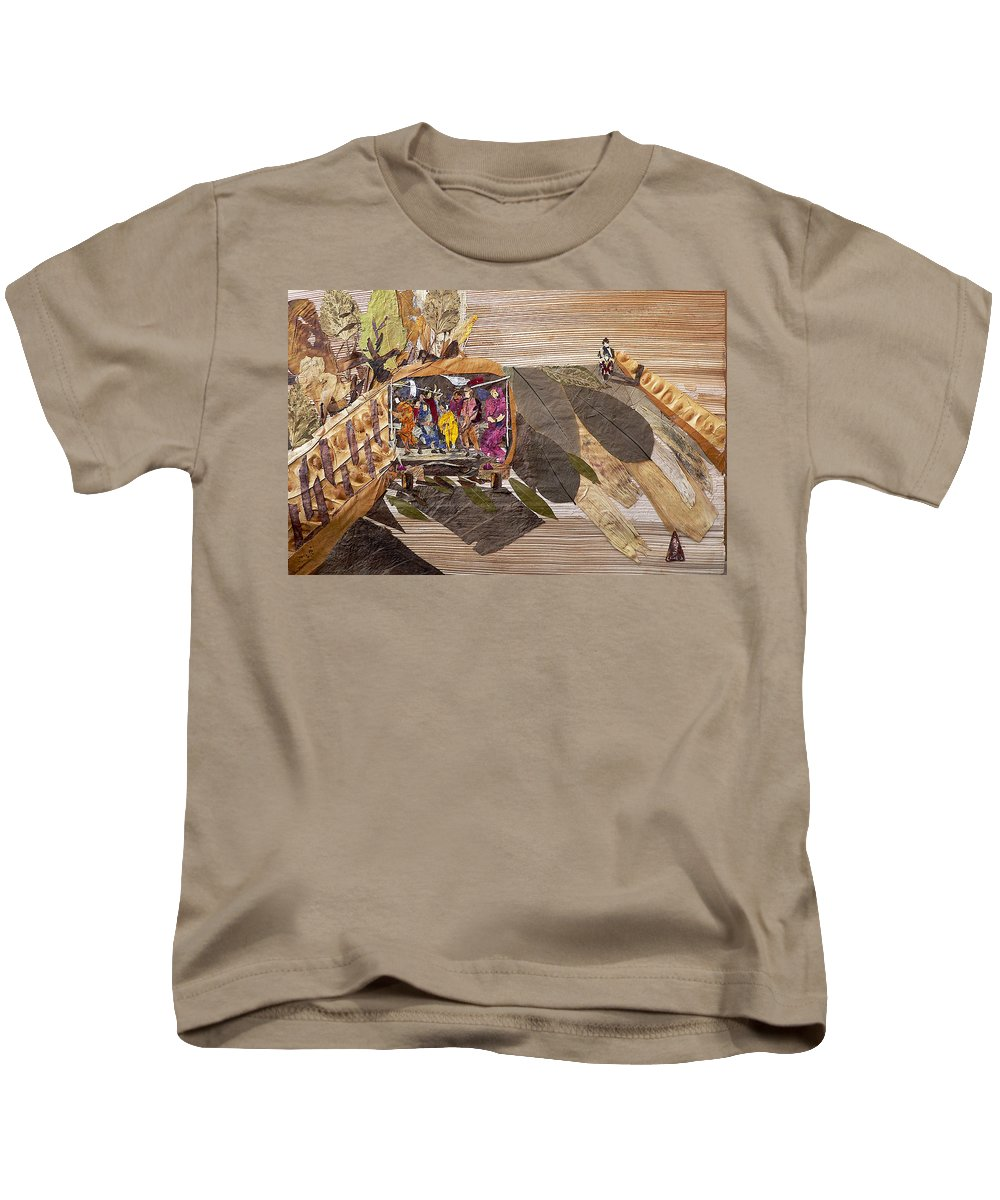 Tempo Drive To City Kids T-Shirt featuring the mixed media Steep Riding by Basant soni