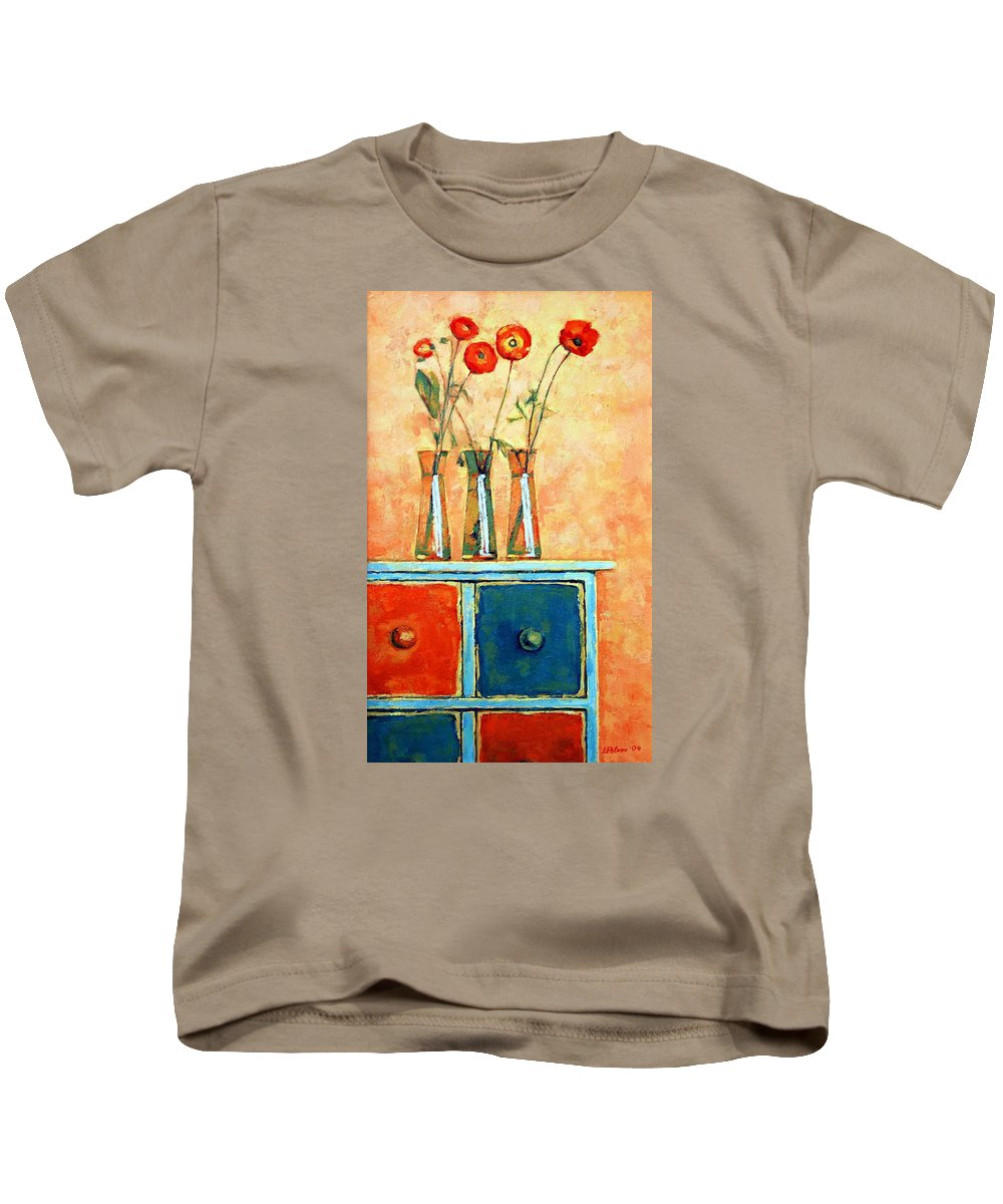 Poppies Kids T-Shirt featuring the painting Still Life With Poppies by Iliyan Bozhanov