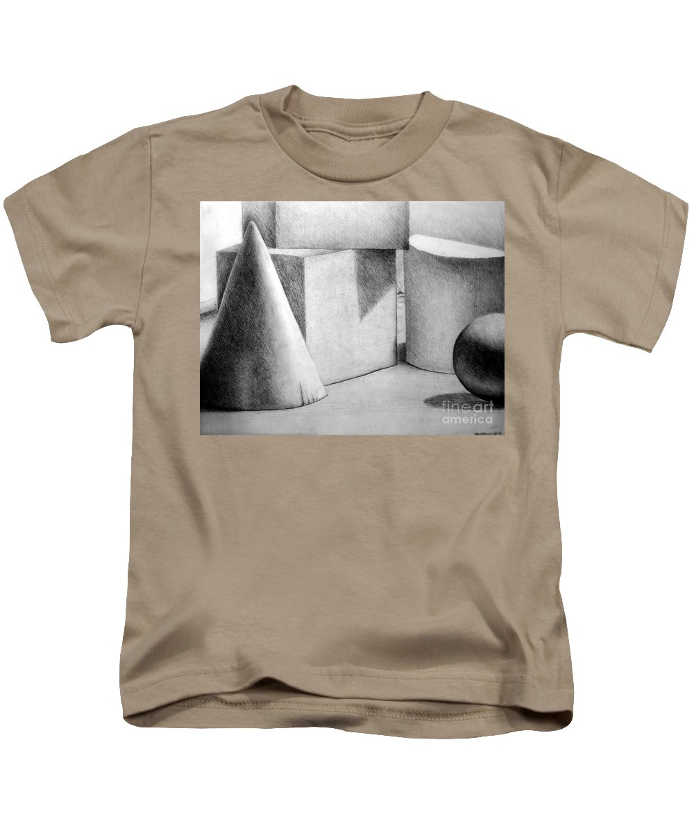 Drawing Kids T-Shirt featuring the drawing Still Life With Shapes by Nancy Mueller