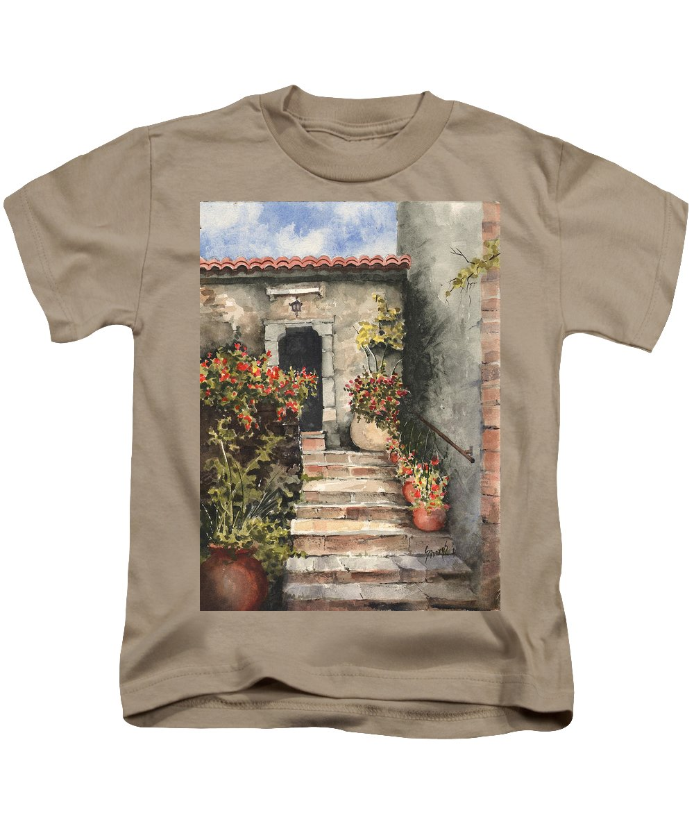 Steps Kids T-Shirt featuring the painting Stone Steps by Sam Sidders