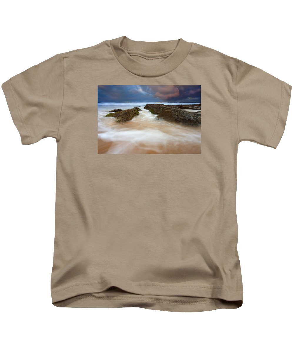 Seascape Kids T-Shirt featuring the photograph Storm Shadow by Mike Dawson