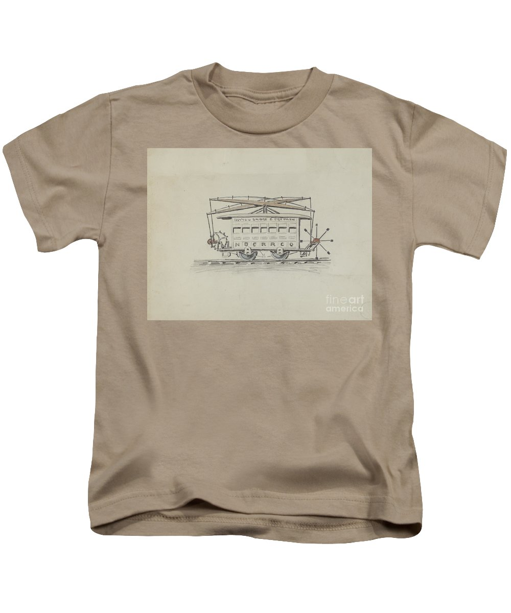 Kids T-Shirt featuring the painting Street Car by American 20th Century