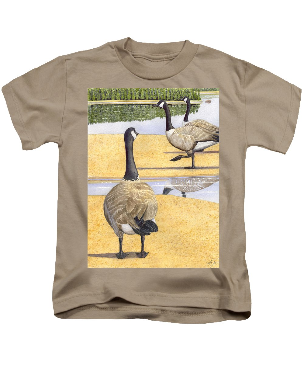Geese Kids T-Shirt featuring the painting Struttin Thier Stuff by Catherine G McElroy