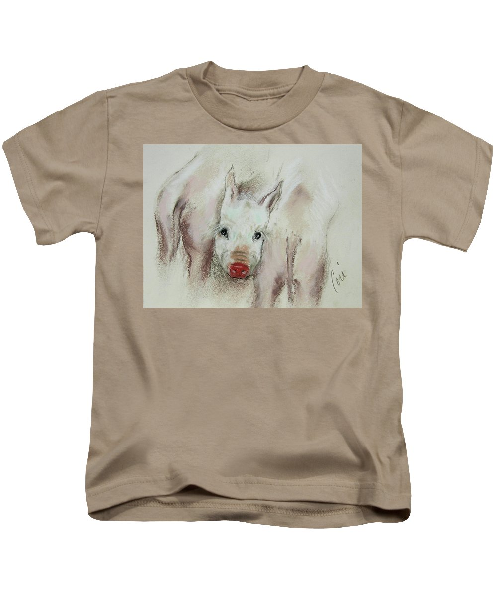 Animal Kids T-Shirt featuring the drawing Stuck In The Middle by Cori Solomon