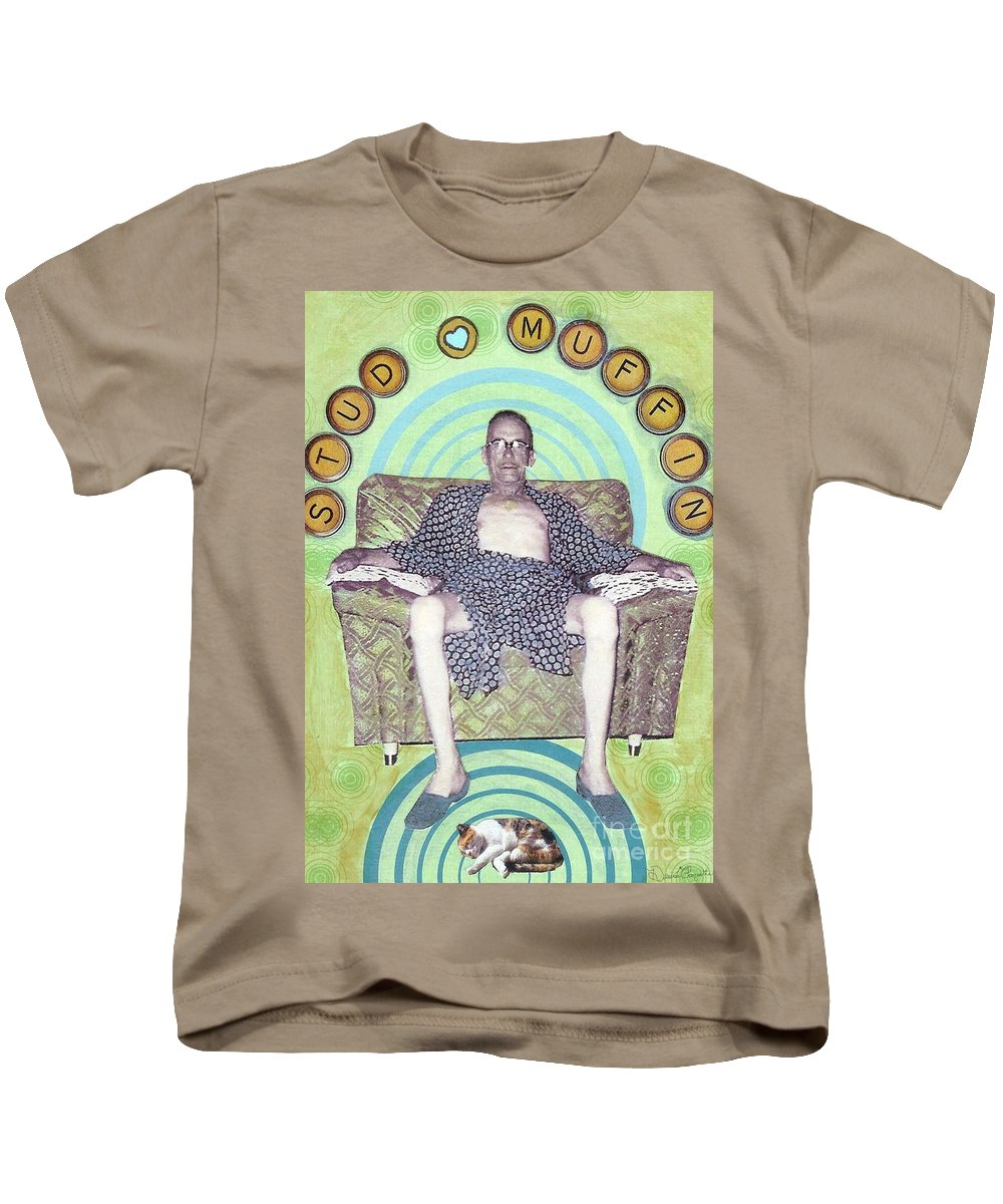Vintage Kids T-Shirt featuring the mixed media Stud Muffin by Desiree Paquette