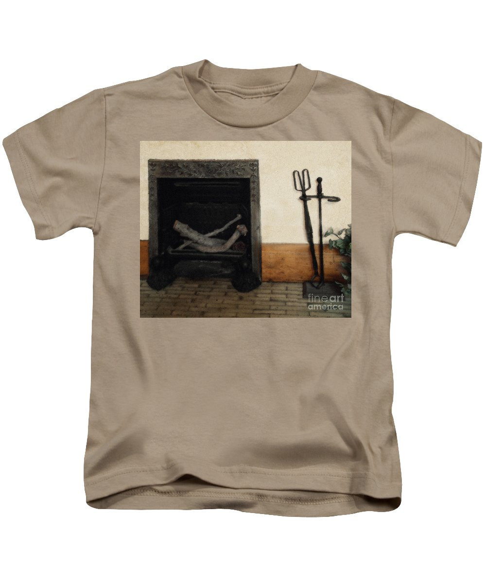 Fireplace Kids T-Shirt featuring the painting Study In Iron, Wood And Stone by RC deWinter