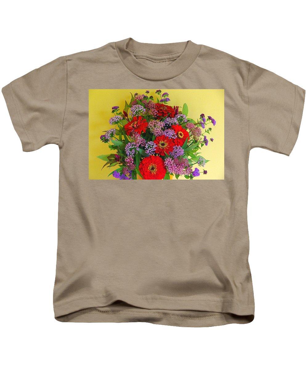 Still Life Kids T-Shirt featuring the photograph Summer Flower Bouquet by Byron Varvarigos