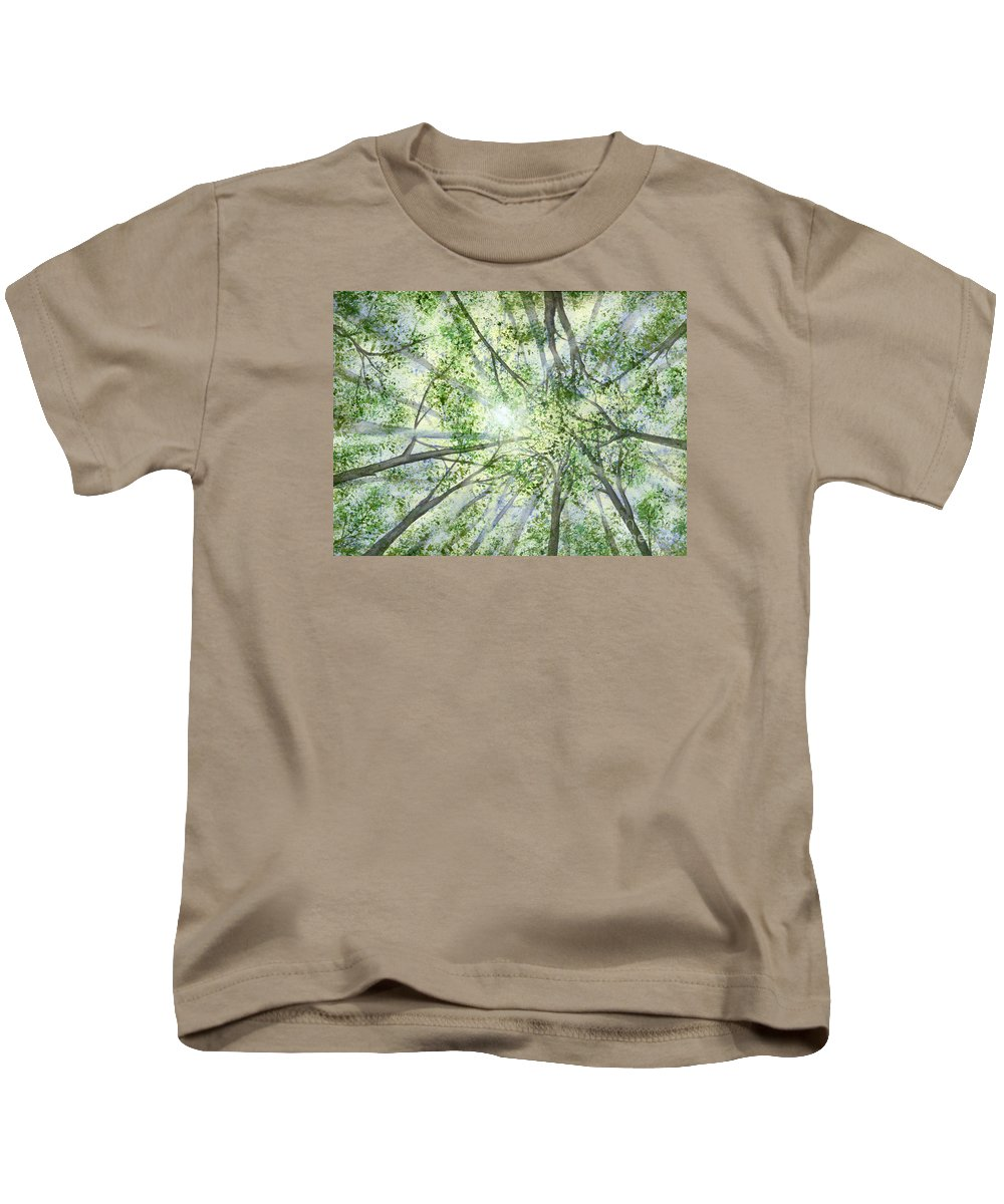 Trees Kids T-Shirt featuring the painting Summer Rays by Lynn Quinn