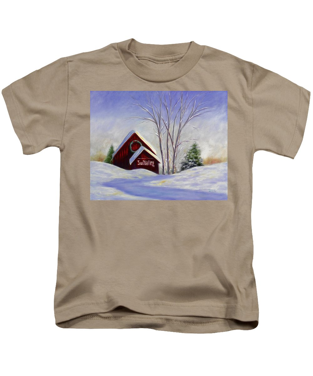 Landscape White Kids T-Shirt featuring the painting Sun Valley 1 by Shannon Grissom