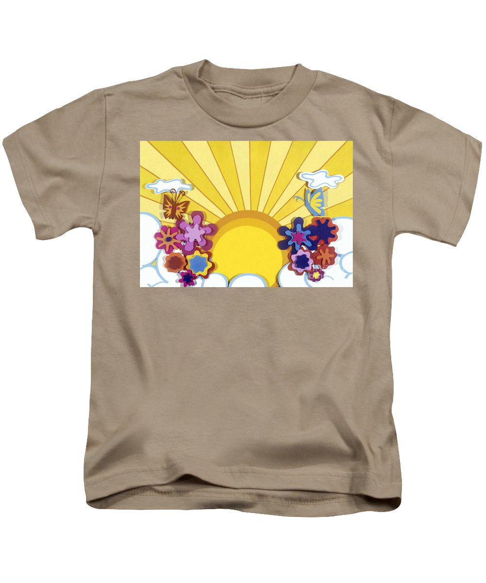 Nature Kids T-Shirt featuring the drawing Sunburst by Lucyna A M Green