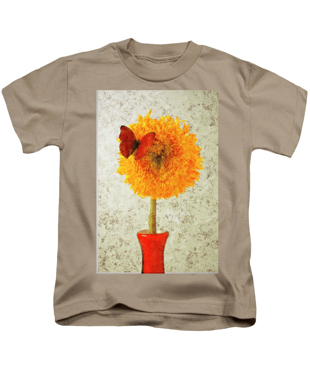 Red Butterfly Sunflower Yellow Abstract Kids T-Shirt featuring the photograph Sunflower And Red Butterfly by Garry Gay