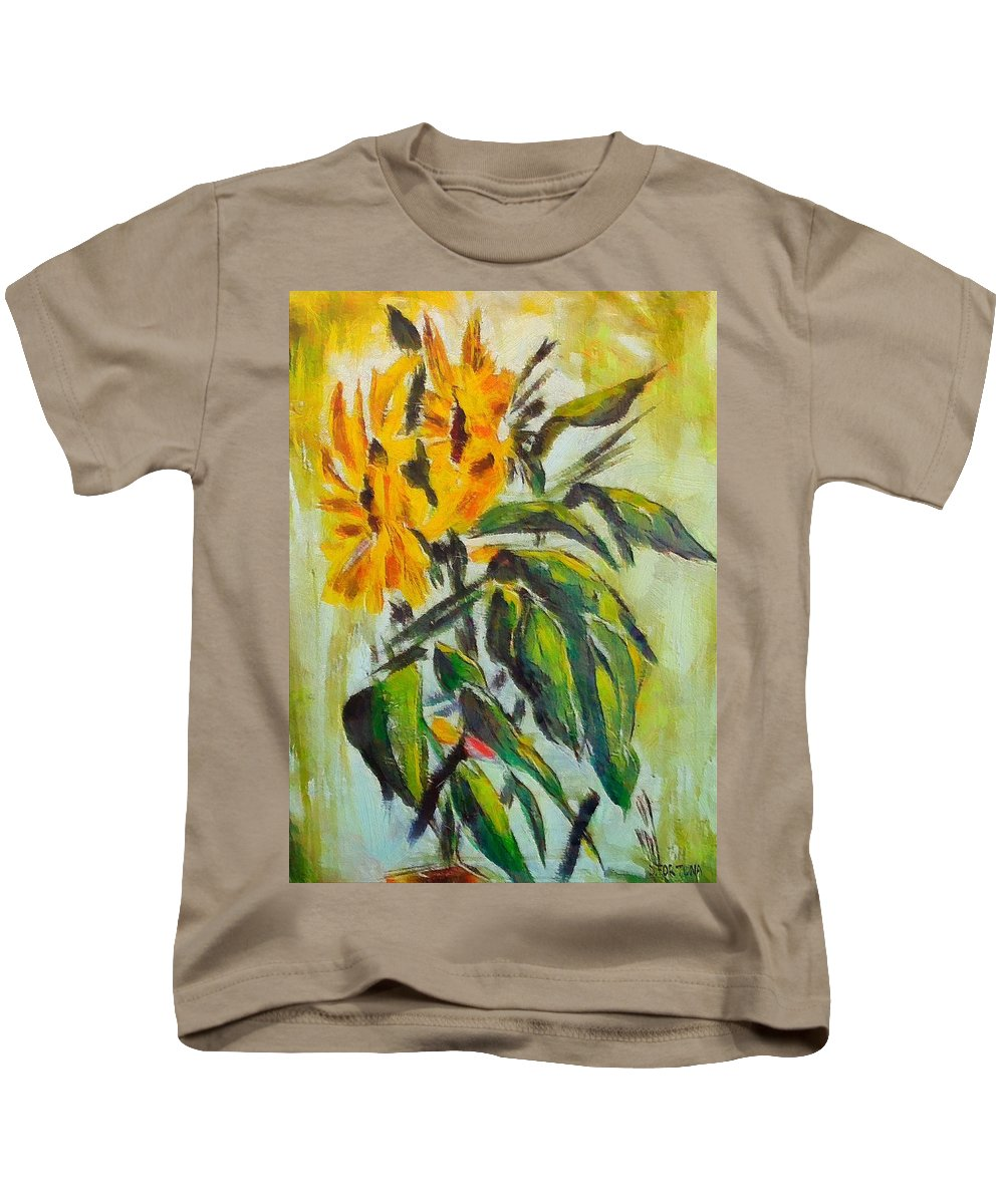 Still Life Kids T-Shirt featuring the painting Sunflowers by Dragica Micki Fortuna