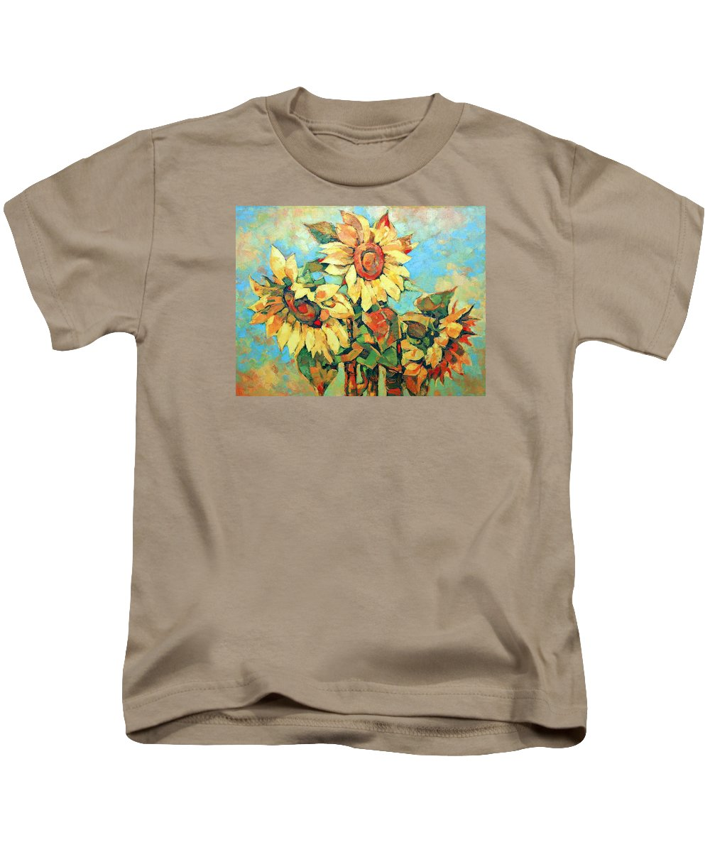 Sunflowers Kids T-Shirt featuring the painting Sunflowers by Iliyan Bozhanov