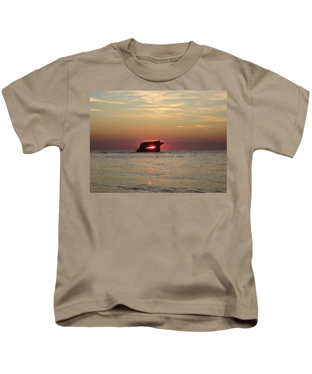 Shipwreck Kids T-Shirt featuring the pyrography Sunset Beach by Fredrecka Bagnato
