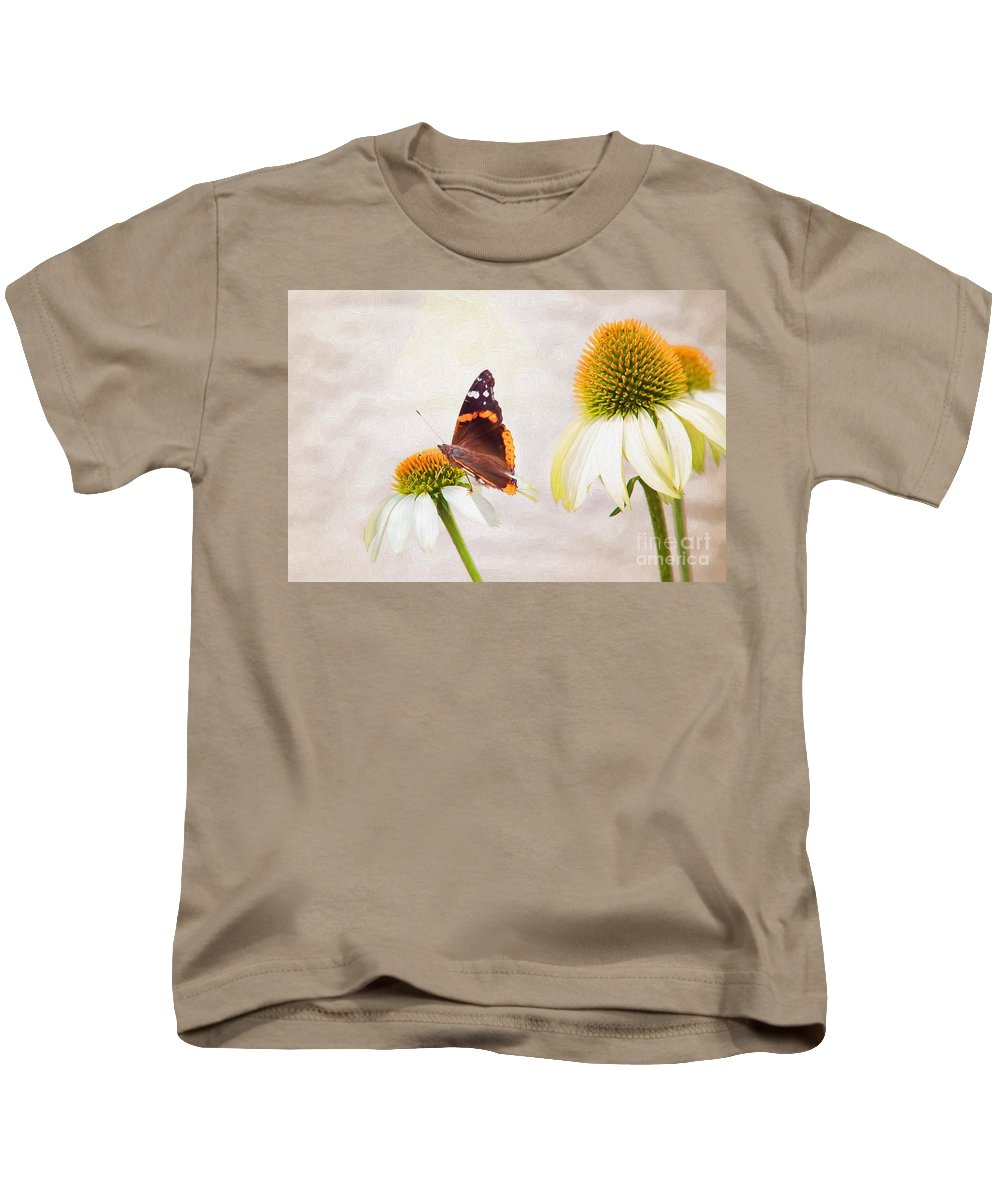 Nature Kids T-Shirt featuring the photograph Sunshine On Red Admiral by Sharon McConnell
