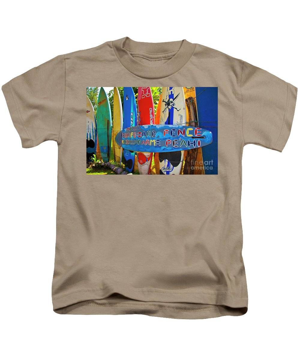 Surfboards Kids T-Shirt featuring the photograph Surfboard Fence-the Amazing Race by Jim Cazel