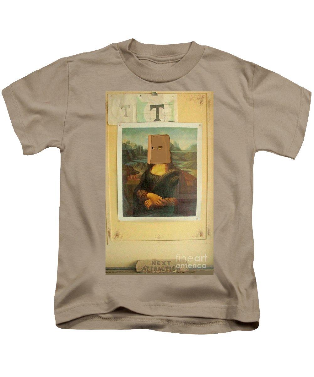 Humorous Mona Lisa Art Print Kids T-Shirt featuring the photograph Surprise Attraction by Joe Jake Pratt