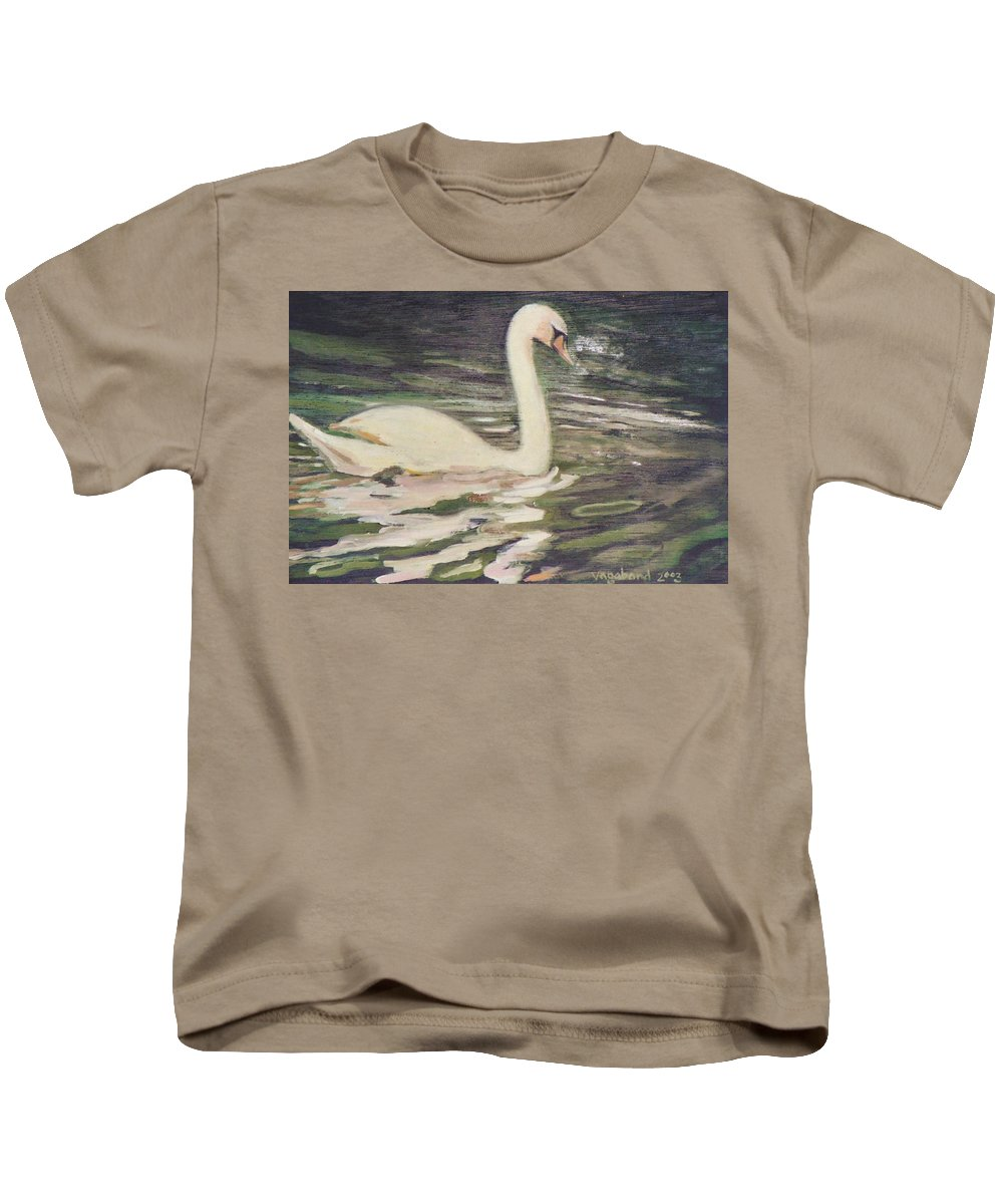 Swan Kids T-Shirt featuring the painting Swan Lake by Suzn Art Memorial