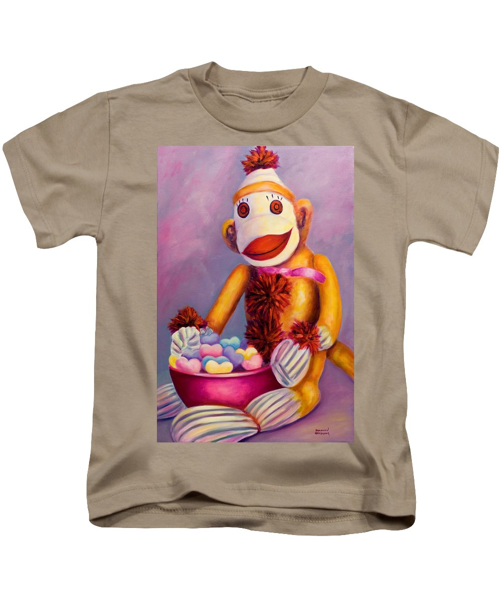 Heart Kids T-Shirt featuring the painting Sweetheart Made Of Sockies by Shannon Grissom