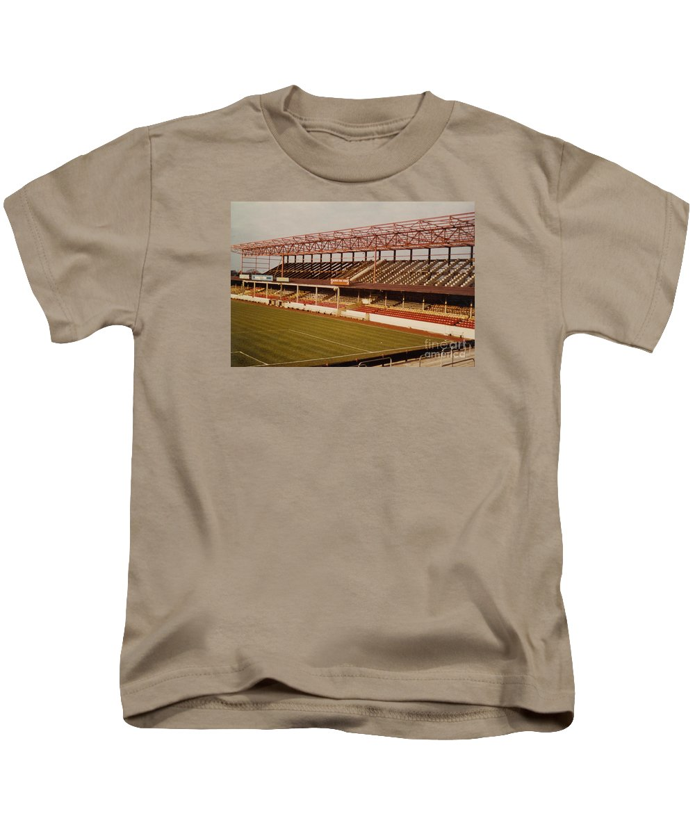 Kids T-Shirt featuring the photograph Swindon - County Ground - Main Stand 2 - 1970s by Legendary Football Grounds