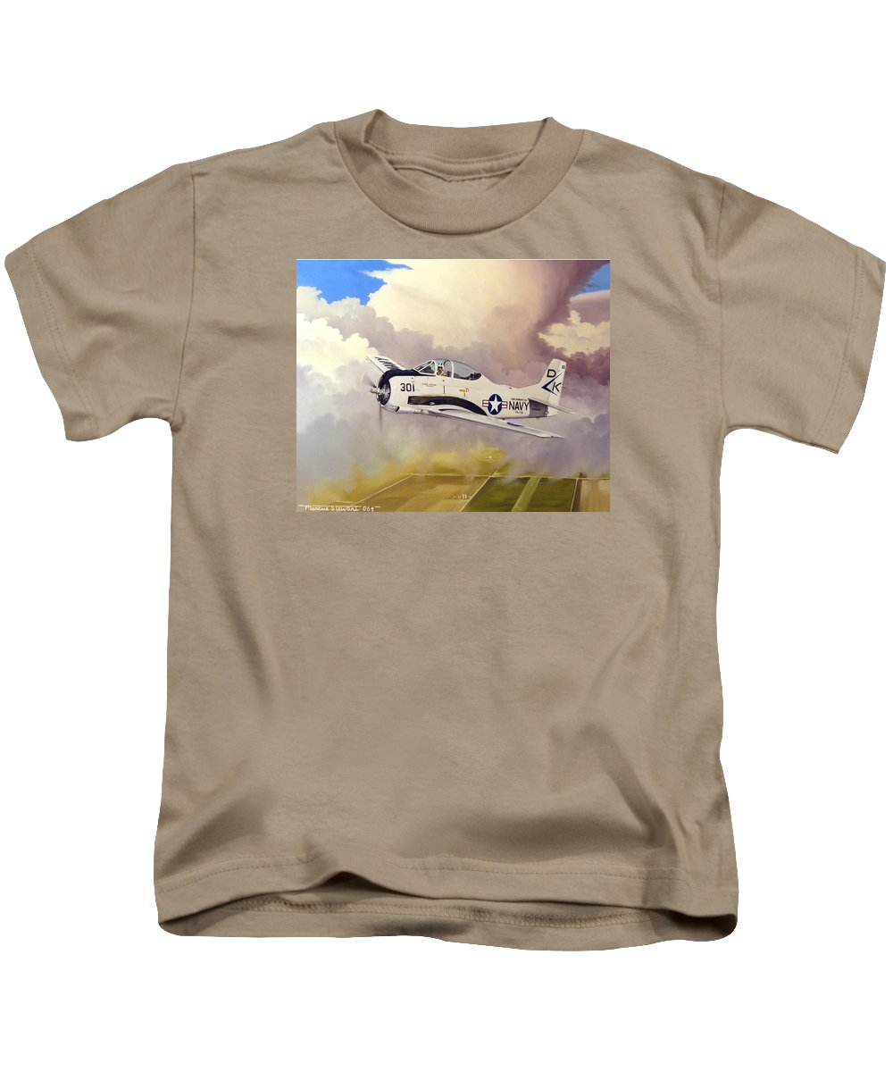 Military Kids T-Shirt featuring the painting T-28 Over Iowa by Marc Stewart