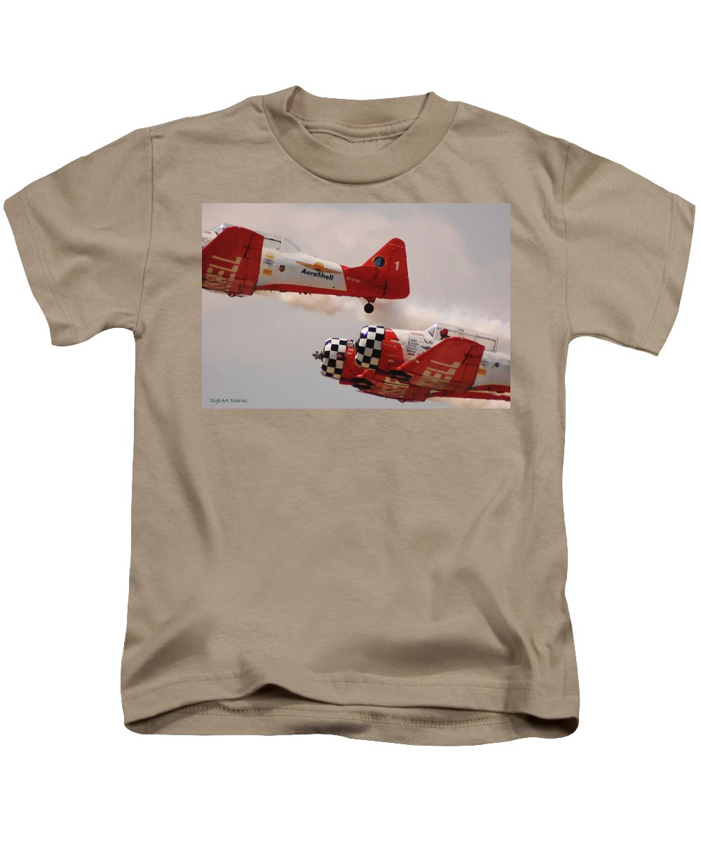 T6 Kids T-Shirt featuring the digital art T6 Aerobatics II by DigiArt Diaries by Vicky B Fuller