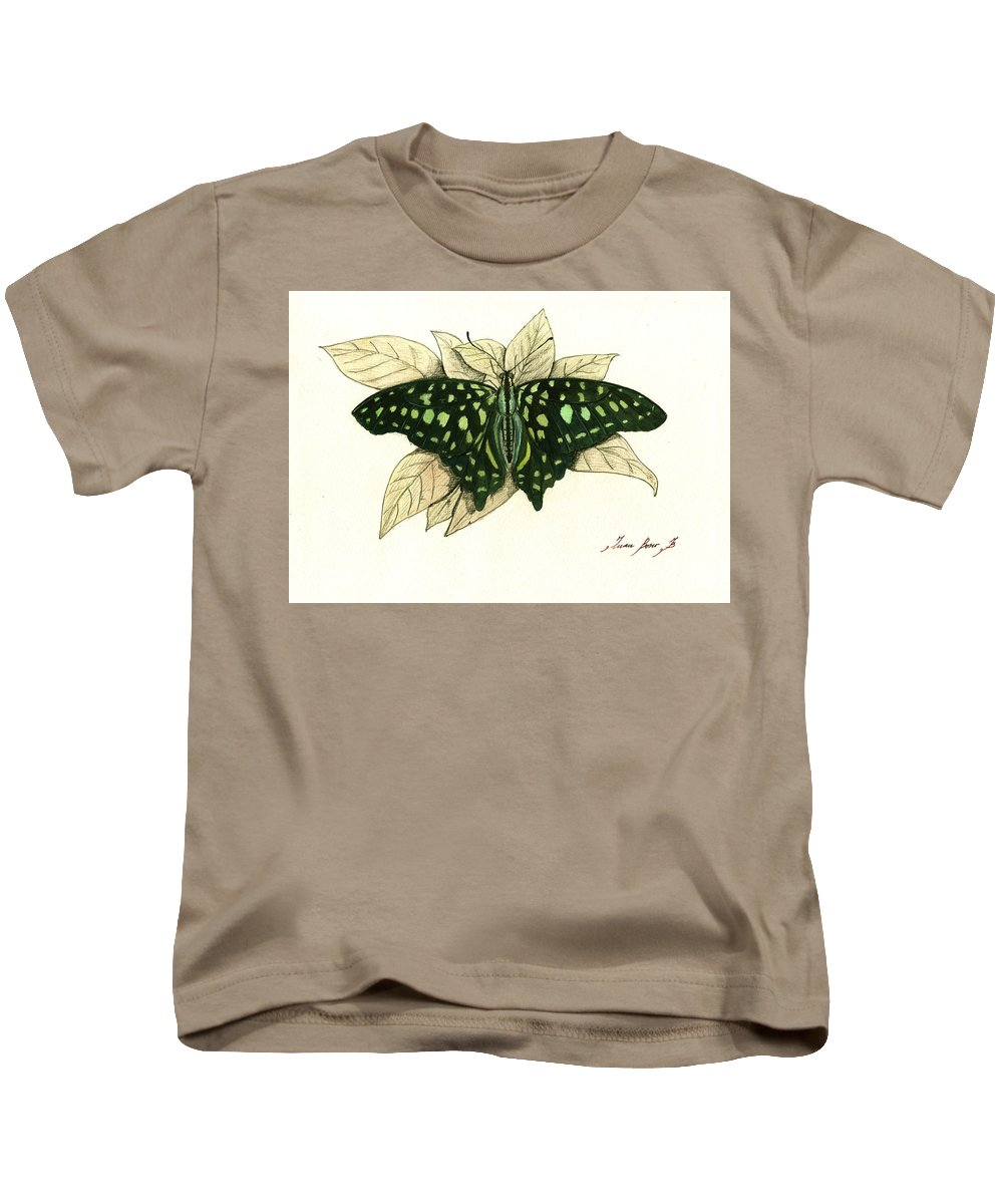 Zebra Longwing Butterfly Kids T-Shirt featuring the painting Tailed Jay Butterfly by Juan Bosco