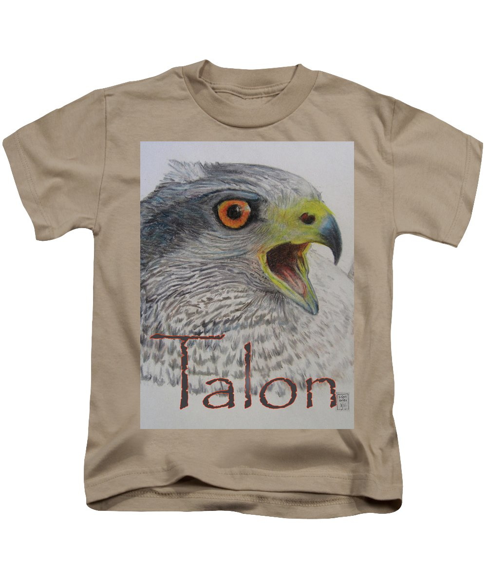 Hawk Kids T-Shirt featuring the drawing Talon Close Up by Lucien Van Oosten