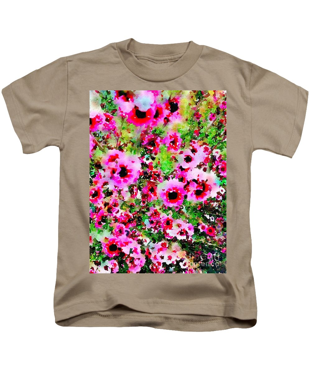 Watercolors Kids T-Shirt featuring the painting Tea Tree Garden Flowers by John Castell