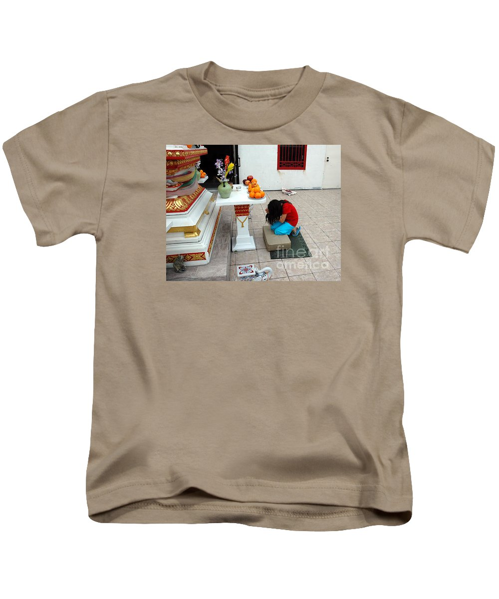 Child Kids T-Shirt featuring the photograph Temple Prayer by Michael Ziegler