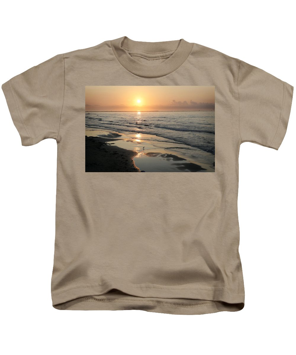 Water Kids T-Shirt featuring the photograph Texas Gulf Coast At Sunrise by Marilyn Hunt