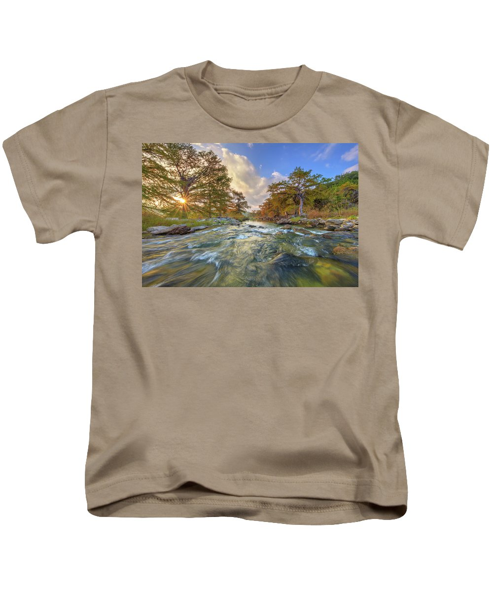 Texas Hill Country Kids T-Shirt featuring the photograph Texas Hill Country Pedernales Sunrise 1014-3 by Rob Greebon
