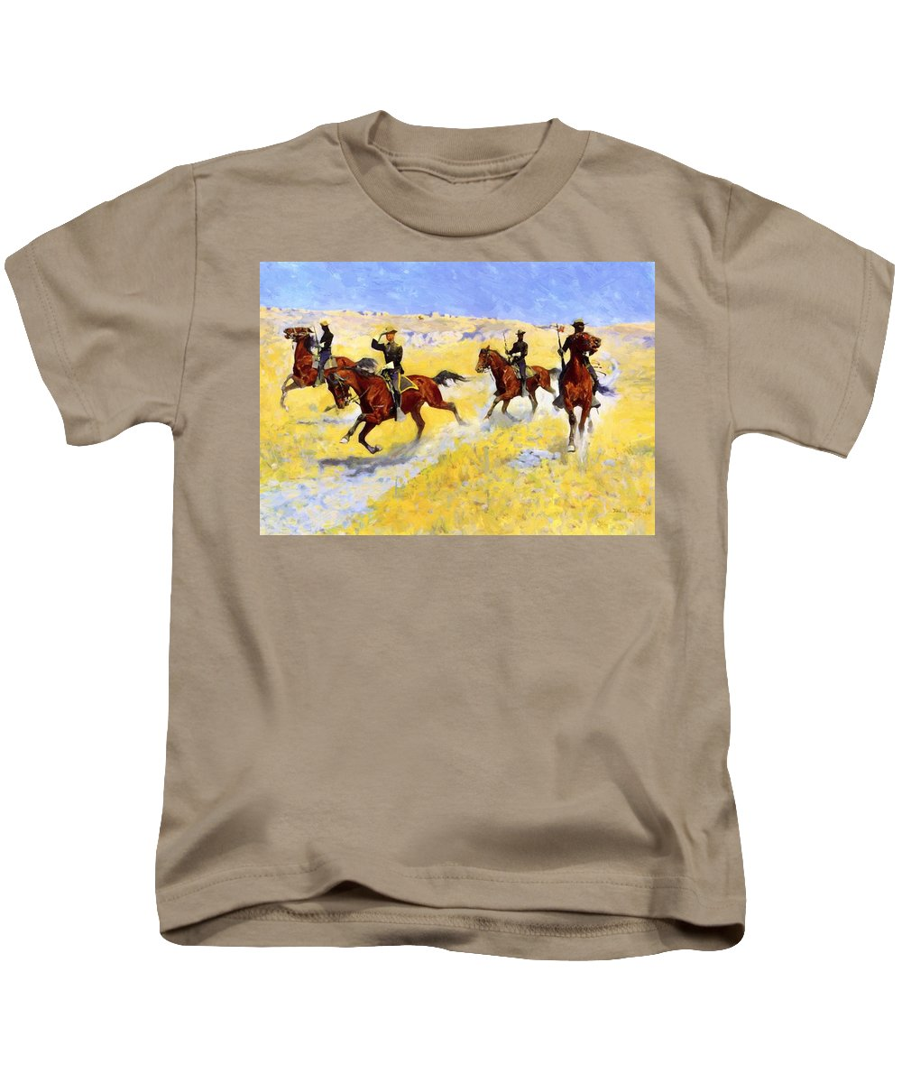 The Kids T-Shirt featuring the painting The Advance 1898 by Remington Frederic
