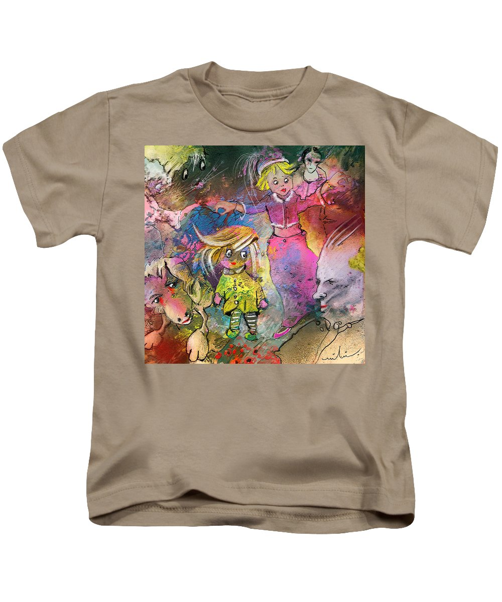 Fantasy Kids T-Shirt featuring the painting The Angry Father by Miki De Goodaboom