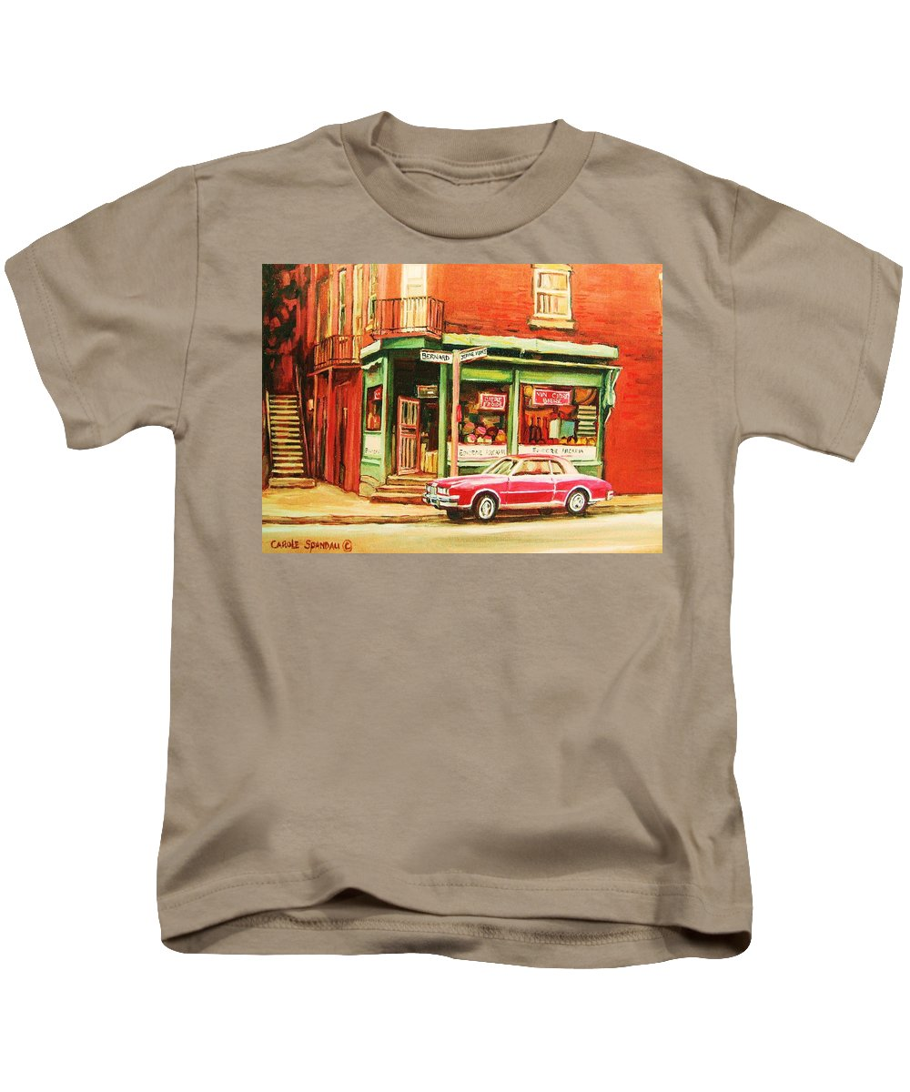 Montreal Kids T-Shirt featuring the painting The Arcadia Five And Dime Store by Carole Spandau