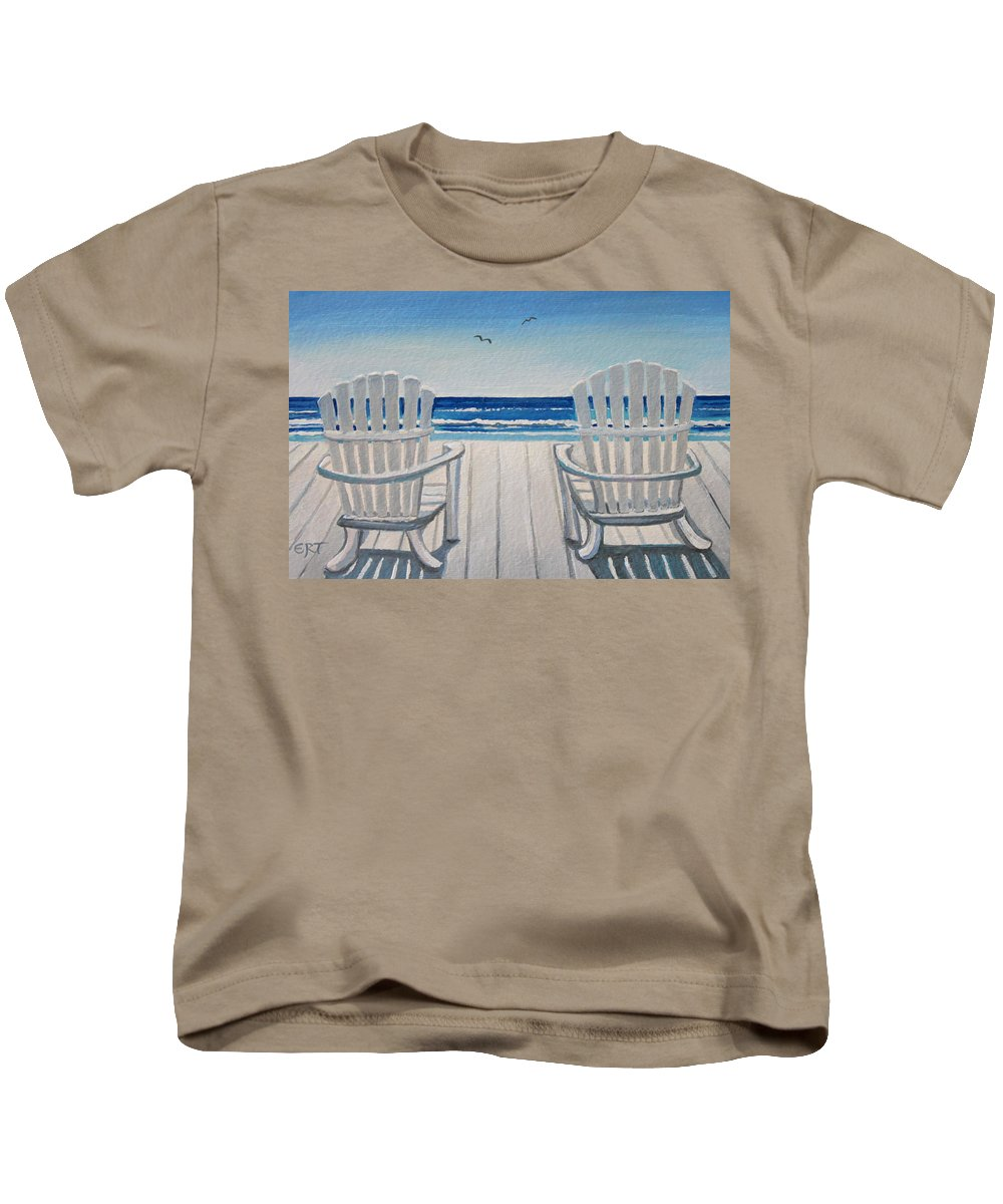 Beach Kids T-Shirt featuring the painting The Beach Chairs by Elizabeth Robinette Tyndall