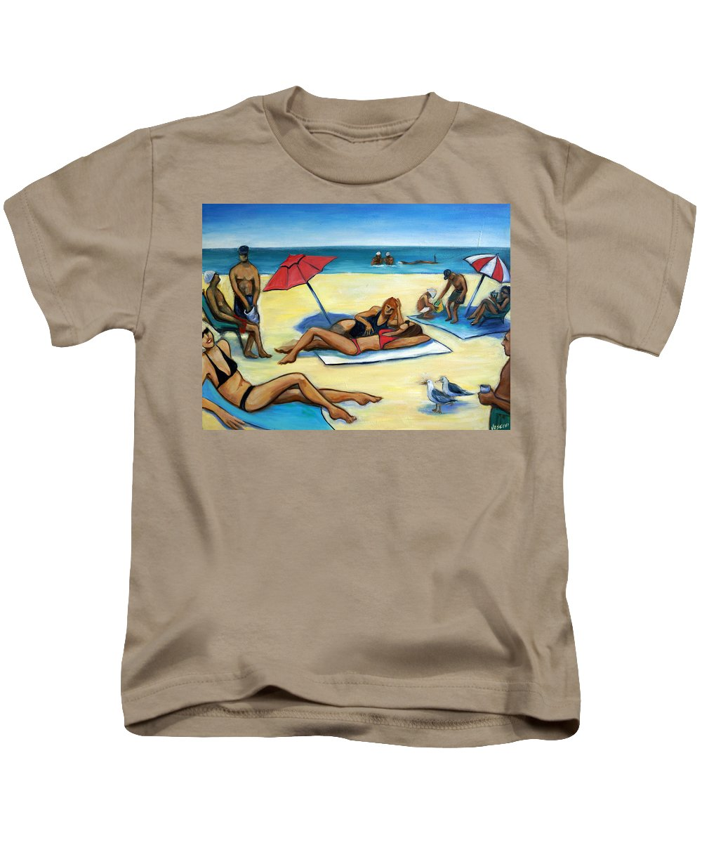 Beach Scene Kids T-Shirt featuring the painting The Beach by Valerie Vescovi