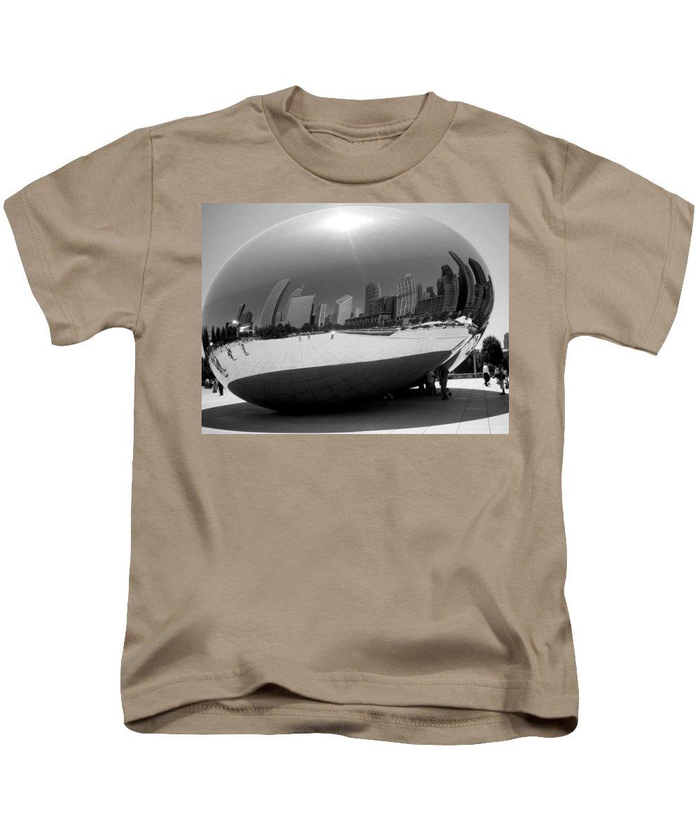 Chicago Kids T-Shirt featuring the photograph The Bean B-w by Anita Burgermeister