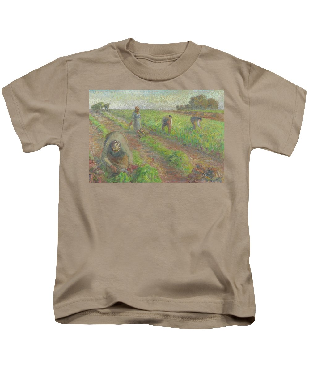 The Beet Harvest Kids T-Shirt featuring the painting The Beet Harvest by Camille Pissarro