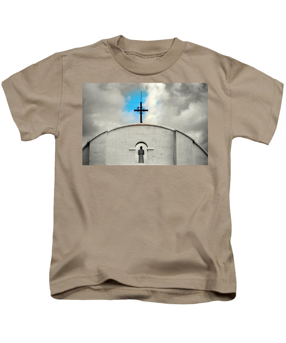 Religion Kids T-Shirt featuring the photograph The Blue Spot In The Sky by Susanne Van Hulst
