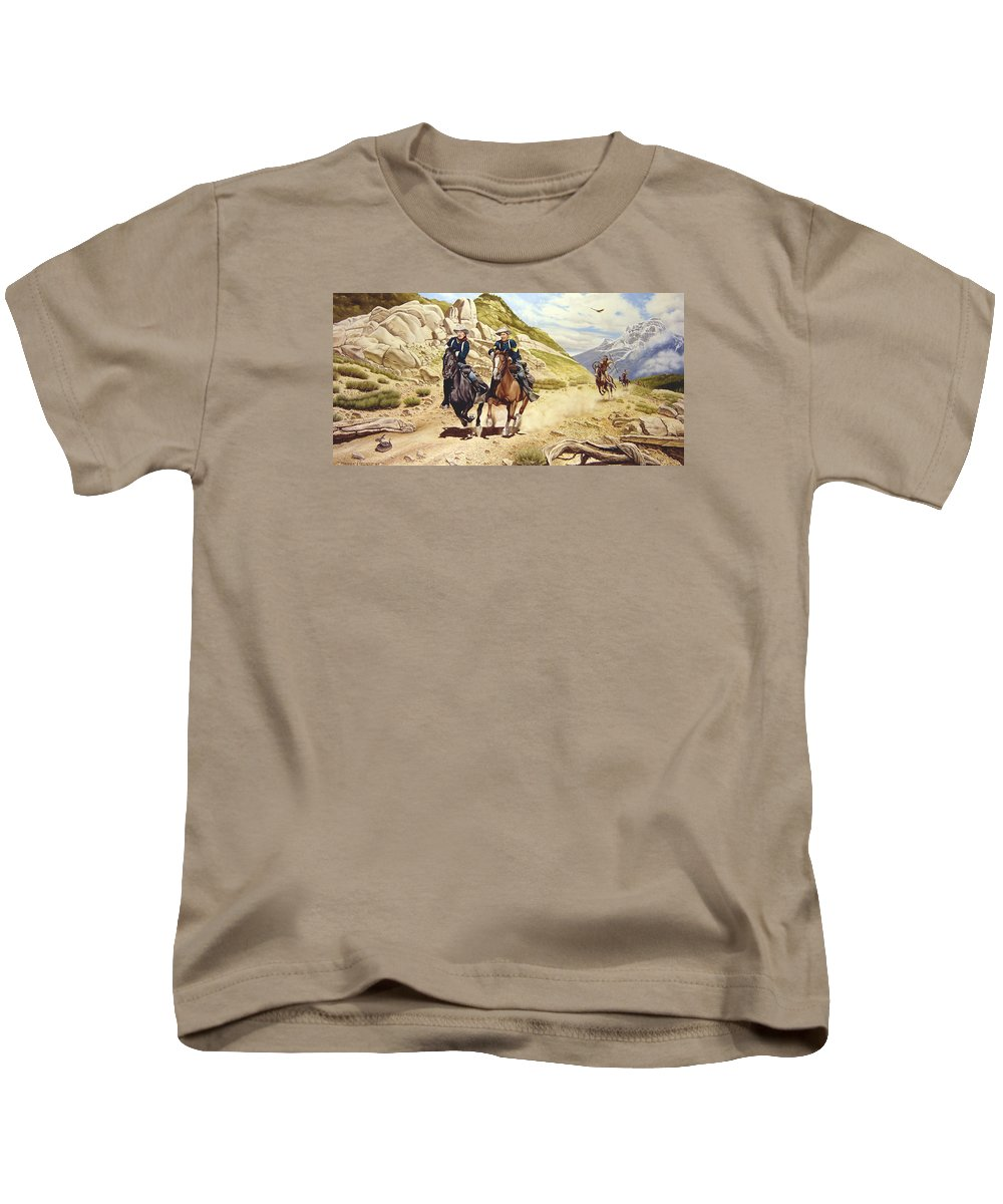 Western Kids T-Shirt featuring the painting The Chase by Marc Stewart